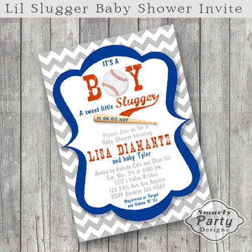 super cute baseball baby shower invitation featuring a baseball and a bat with a blue frame and a grey and white chevron pattern background