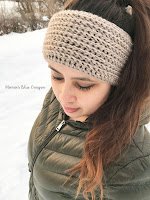 Quick and easy faux knit ear warmer free crochet pattern