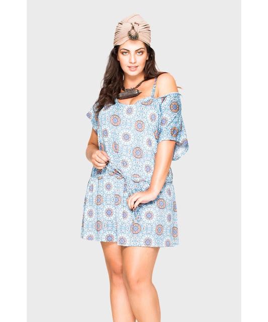 C&A Modas saída august mandala plus size azul gg