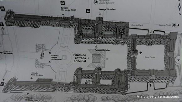 Plano del Museo del Louvre, París