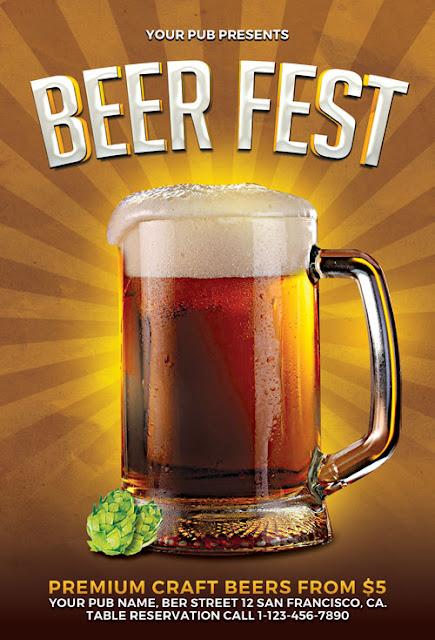 Plantilla de volante promocional de fiesta cervecera u oktoberfest