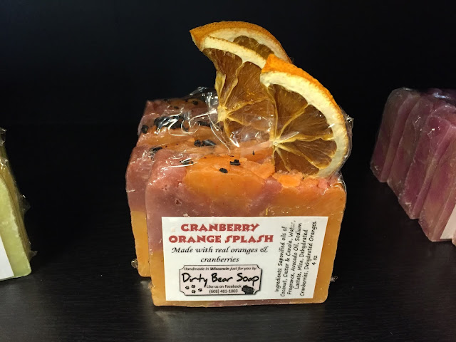 Fun and sassy soap made with real cranberries and oranges by Dirty Bear.