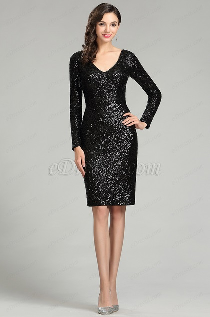 Black Sequins Night Party Cocktail Dress