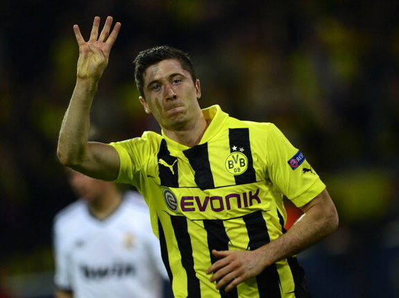 Dortmund striker Robert Lewandowski celebrates after scoring his fourth goal against Real Madrid