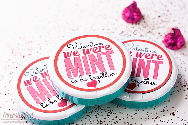 "Using the round Ice Breakers mint containers, make this cute Valentine's Day gift for anyone you're ""mint"" to be with! Free printable download. #overstuffedlife"