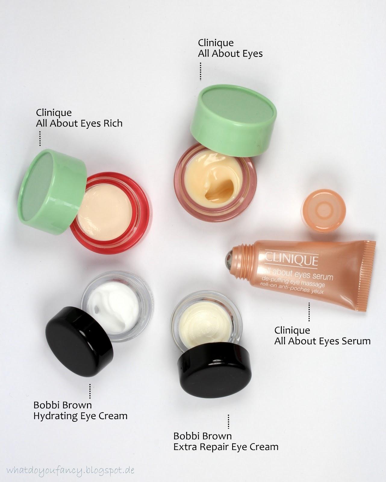 Augencremes von Bobbi Brown und Clinique im Überblick