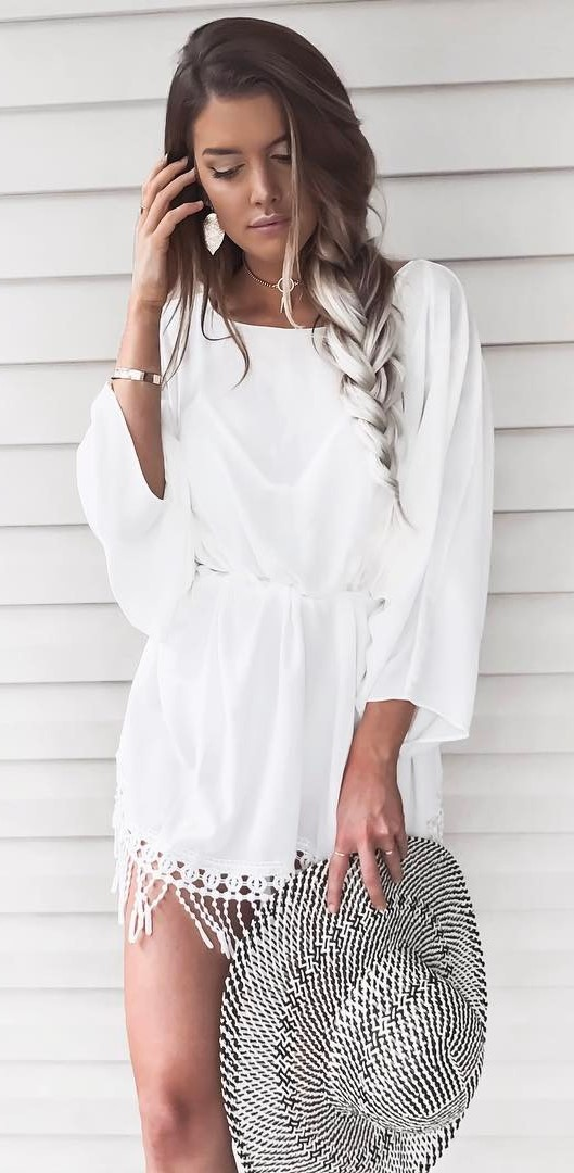 amazing white on white outfit: dress + hat