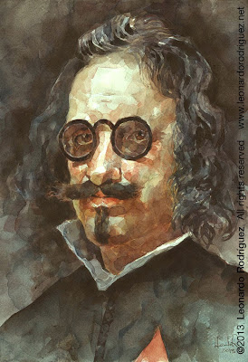 Francisco de Quevedo,  Watercolor portrait