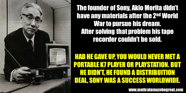 63 Successful People Who Failed: Akio Morita, Success Story, Sony, tape recorder, not having materials, 2nd World War, K7 player, playstation,