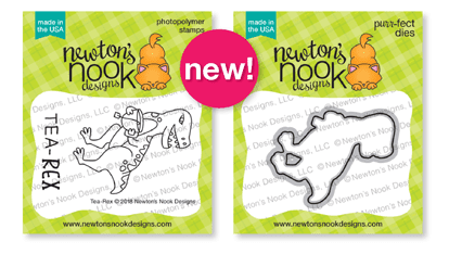 Tea Rex Stamp and Die Sets by Newton's Nook Designs #newtonsnook