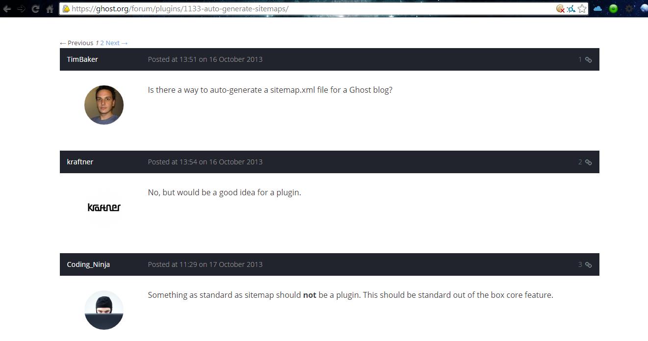 ghost blog platform automatic sitemap xml file creation