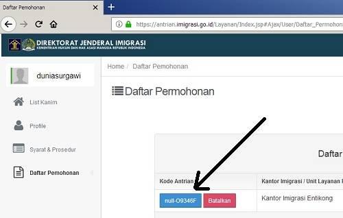 daftar antrian paspor online