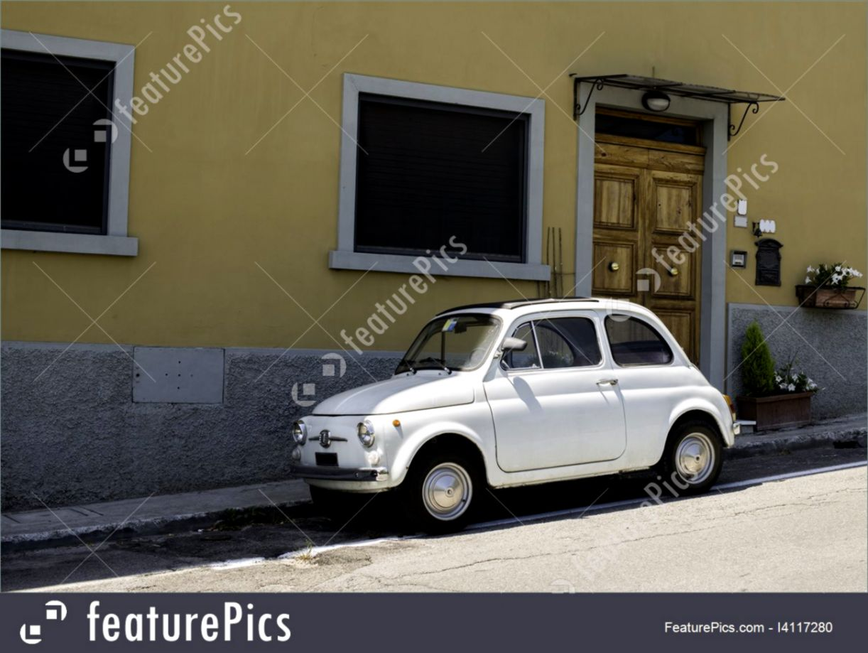 hight resolution of auto transport white small vintage fiat abarth stock image