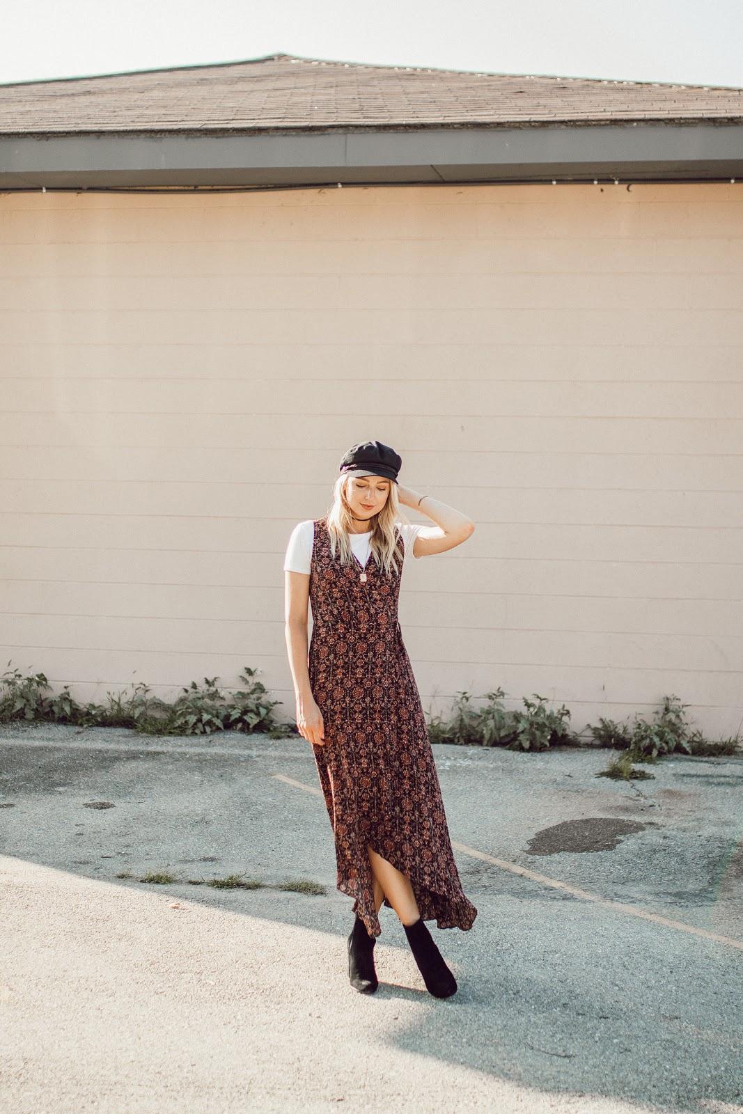 Lulu's print wrap dress, layered over a tee