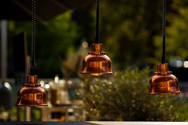 Oliver Bonas copper lamp shades