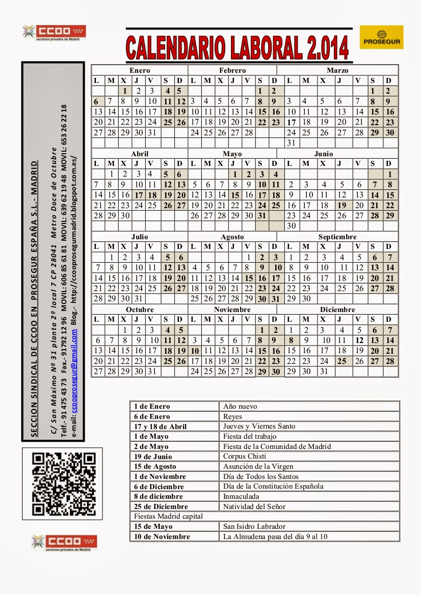 Cc oo prosegur madrid calendario laboral for Calendario eventos madrid