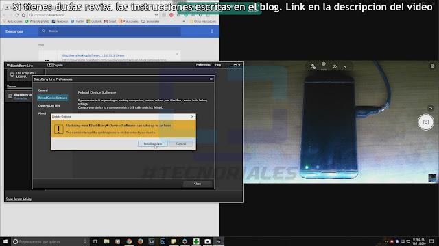 Mensaje en BB Link para instalar el software en el Z10