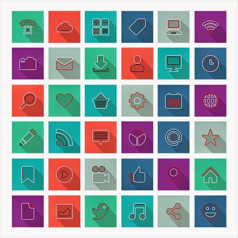 36 Long Shadow Thin Social Media Icons