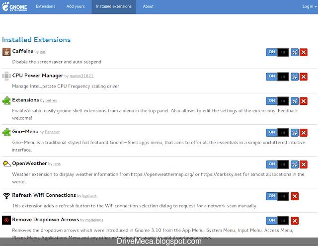 La pagina de gnome extensions tambien nos permite manejar las extensiones ya instaladas
