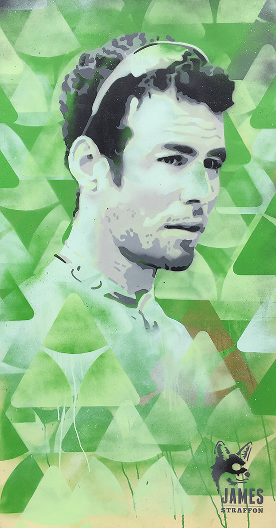 A special charity artwork of Mark Cavendish created for Dimension Data by artist James Straffon