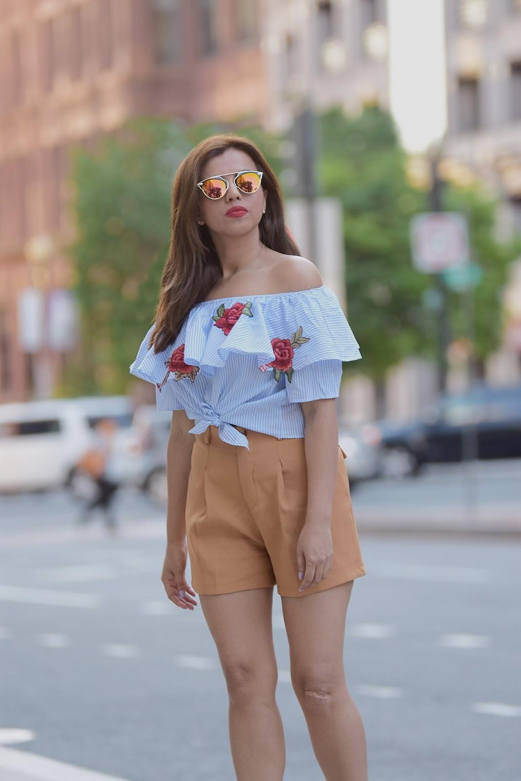 Stripes and Patches-MariEstilo-look of the day- camisa de rayas bordada-shein-fashionblogger-streetstyle-washingtondc-nyblogger-tendencia bordados