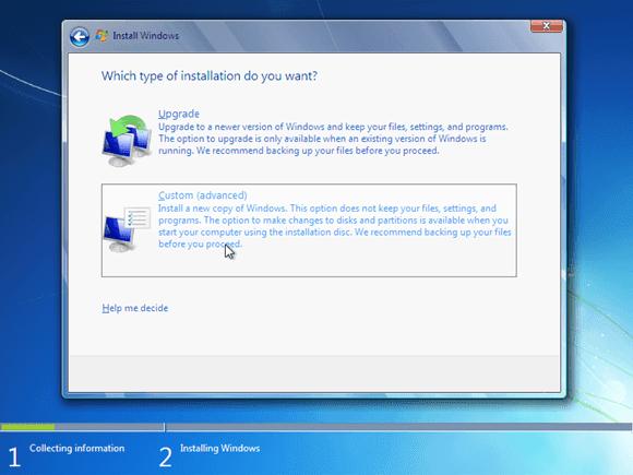 Cara instal windows 7 - custom advanced