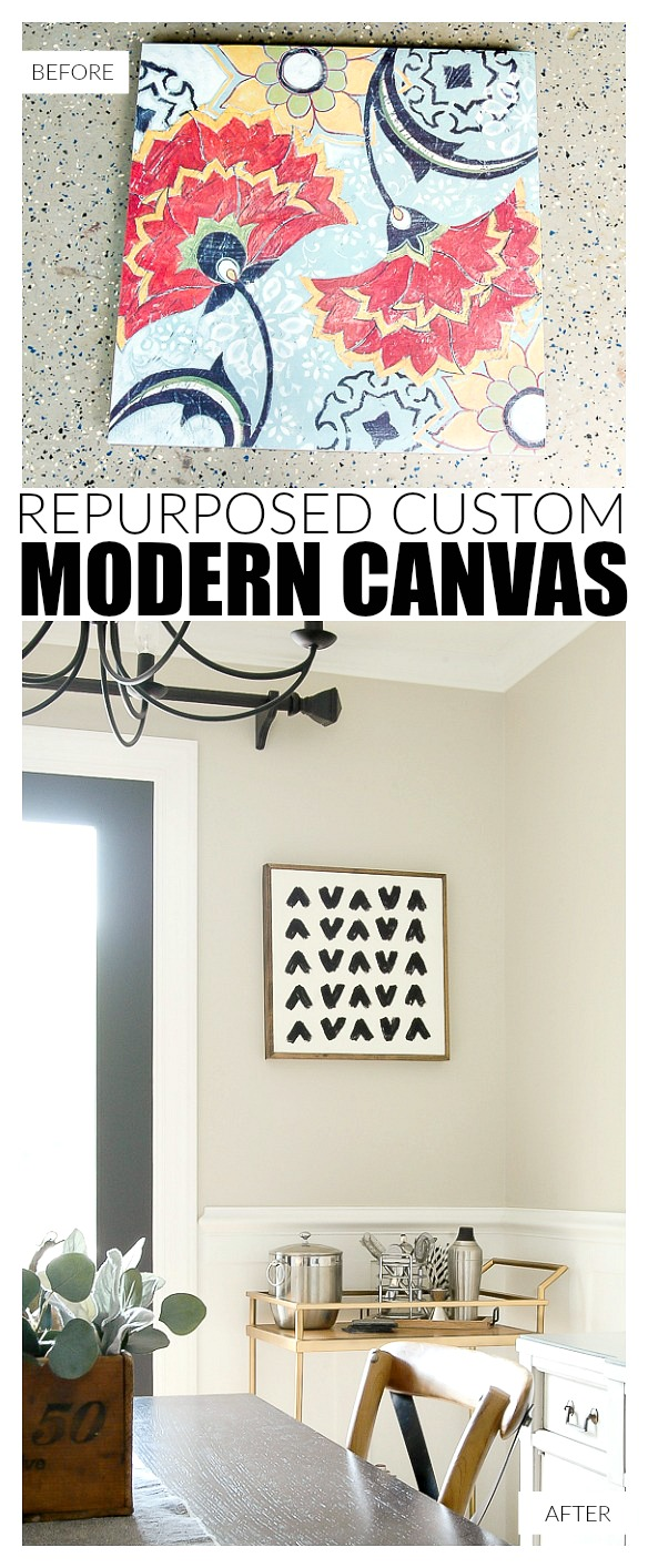 Repurposing an old canvas into modern artwork with paint and an easy wood frame.