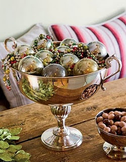 pretty Christmas decoration with silver Christmas balls
