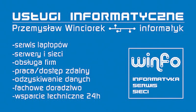 Wizytówki dla Winfo IT, identyfikacja wizualna, projekt graficzny