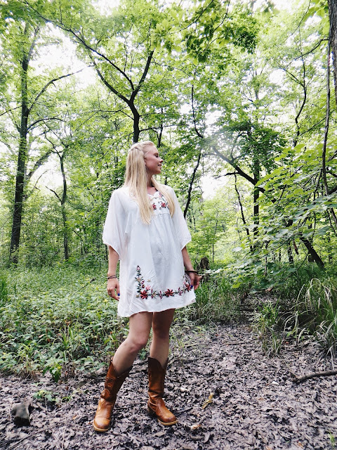 Gamiss embroidered dress, Mountain Lust Jewelry wooden bangle, Swallow's Heart green stone earrings, casual outfit, cowboy boots, summer outfit
