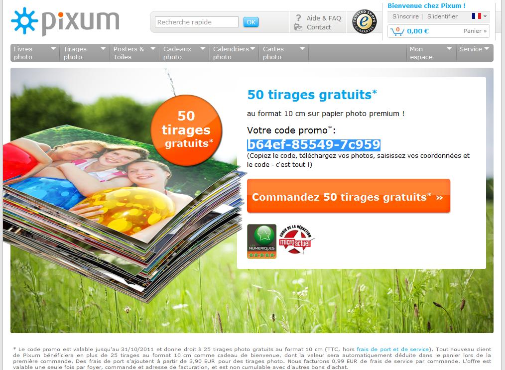 Pixum code promo frais de port