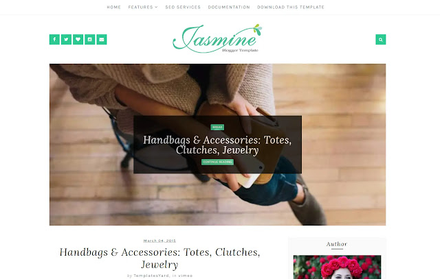 Jasmine Responsive Personal Blog Fashions Girly Update Blogger Template Theme