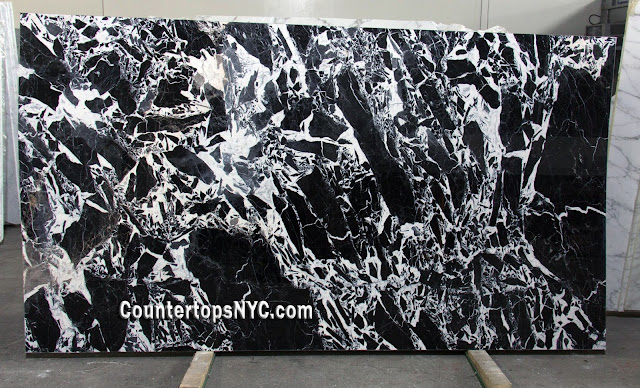 Grand Antique Black and White Marble Slab NYC 2cm