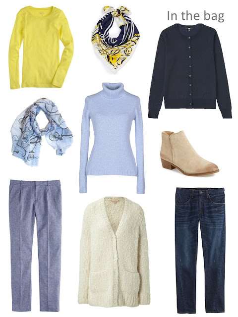 Six-Pack for autumn, in shades of blue, with yellow and cream