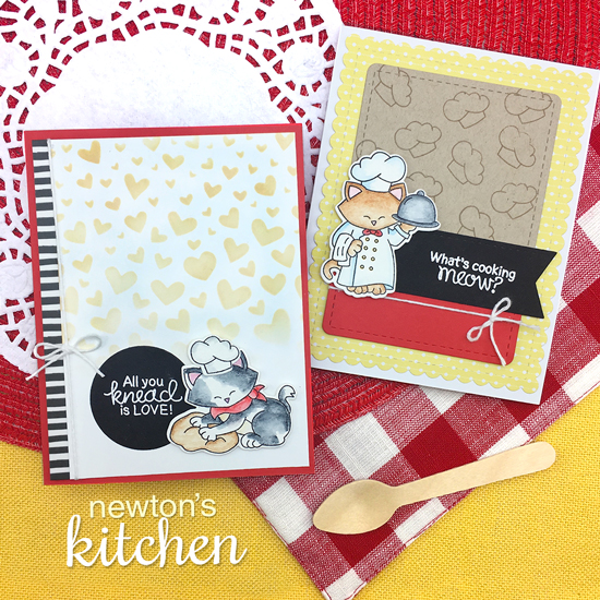 Cat in Kitchen cards by Jennifer Jackson | Newton's Kitchen Stamp Set by Newton's Nook Designs #newtonsnook #handmade #kitchenstamps