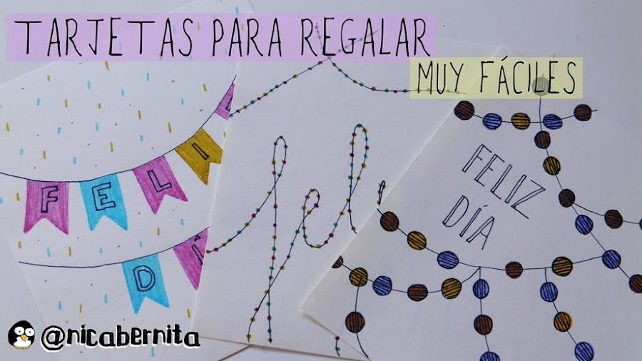 tarjetas guirnaldas rotuladores nica bernita felicitación cumpleaños aniversario