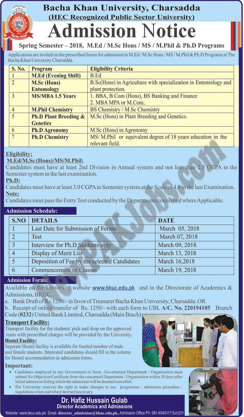 Bacha Khan University Admissions Notice for Spring Smester 2018, Charsadda