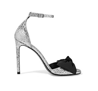 Saint Laurent Jane Bow Embellished Glittered Satin Sandals