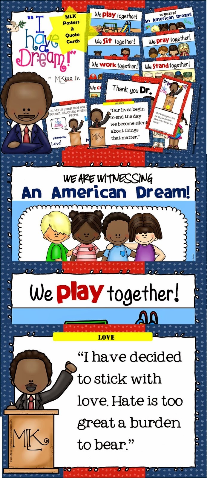 http://www.teacherspayteachers.com/Product/Dr-Martin-Luther-King-Jr-Kid-Friendly-Dreams-and-Quotes-Posters-with-Cards-1626517