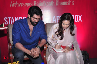 Aiswarya Rajinikanth Dhanush Standing on an Apple Box Launch Stills in Hyderabad  0064.jpg