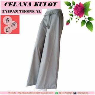 Celana Kulot Taipan Tropical (Serat Linen) Abu Kecoklatan