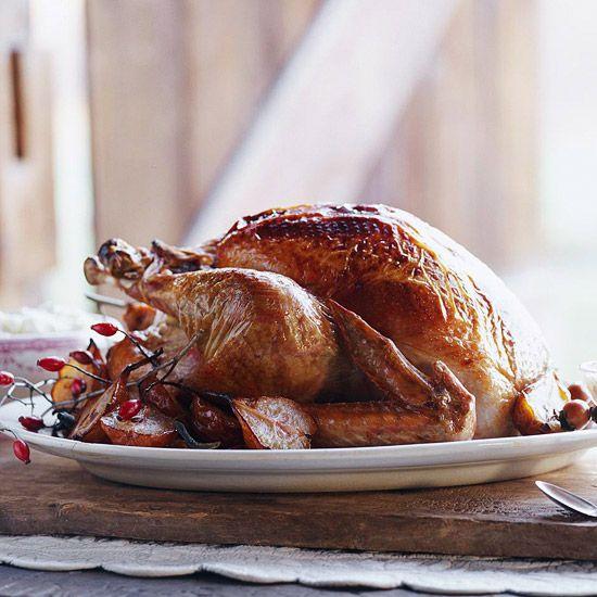Christmas dinner idea - Pear-Glazed Roast Turkey with recipe link