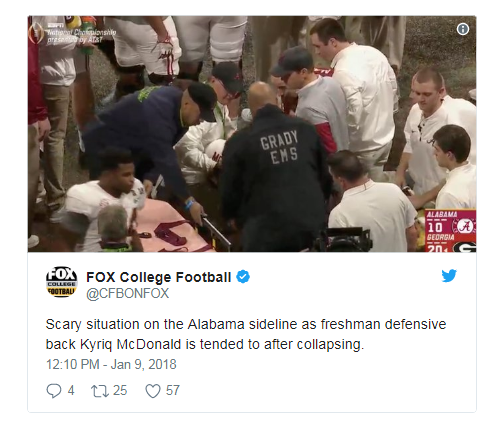 Alabama vs. Georgia: Tide player carted off of field after collapsing on sideline