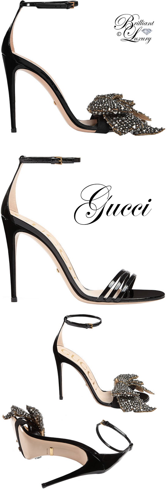 Brilliant Luxury ♦ Gucci Patent Leather Sandal With Removable Crystal Bow