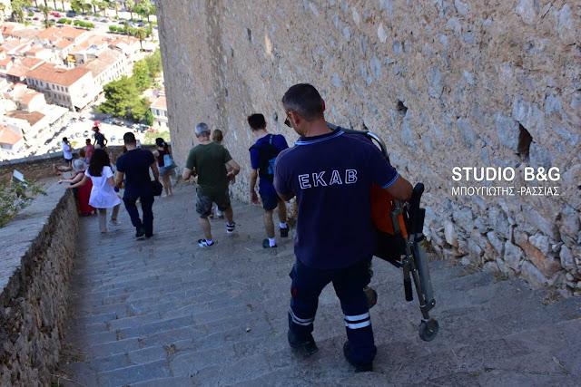 Ναύπλιο: Επιχείρηση πυροσβεστικής και ΕΚΑΒ στο Παλαμήδι για Ισπανό τουρίστα (βίντεο)