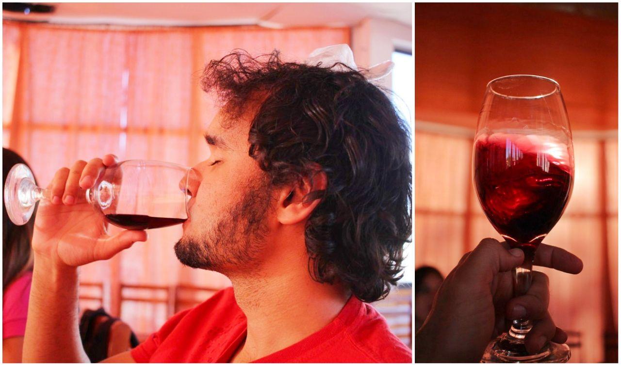 Degustando um vinho na vinícola Santa Romina.