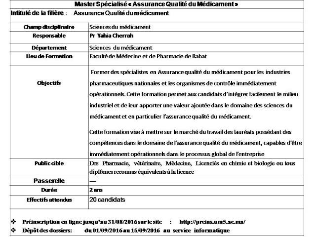 master sp u00e9cialis u00e9 assurance qualit u00e9 du m u00e9dicament 2016