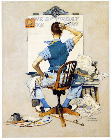 1938 Artist Facing Blank Canvas by Norman Rockwell