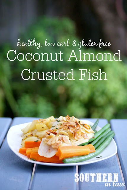 Healthy Coconut Almond Crusted Fish Recipe - healthy, low fat, low carb, gluten free, paleo, clean eating friendly, healthy fish dinner recipes