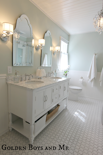 master bath with sherwin williams sea salt paint, pedestal tub, white subway tile, carrera via www.goldenboysandme.com